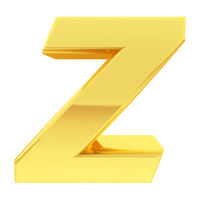 Gold alphabet symbol letter Z with gradient reflections isolated on white. High resolution 3D image