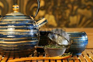 Blue Japanese teapot