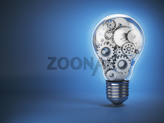 Light  bulb and gears. Perpetuum mobile. Innovation, creativity and idea concept background.
