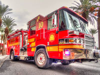 Close up on a bright red fire engine or truck