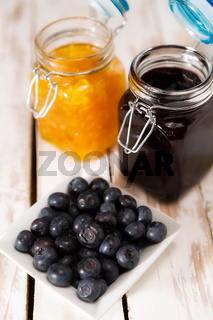 Blueberries over a wooden table