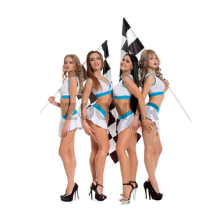 Sexy girls in formula one race style keeping flag