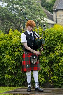 Dudelsackspieler im Musikwettbewerb der Ceres Highland Games, Ceres, Schottland, Grossbritannien