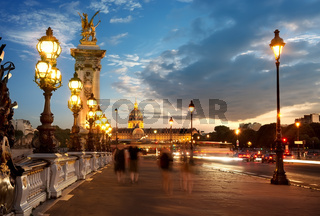 Bridge Alexandre III at sunset