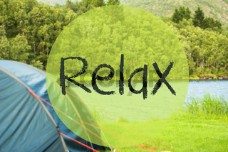 Lake Camping, Text Relax