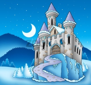 Frozen castle in winter landscape - color illustration.