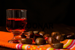 Alcoholic punch drink and chestnuts