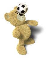 Nhi Bear balances soccer ball on nose
