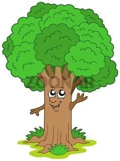 Cartoon tree character - isolated illustration.