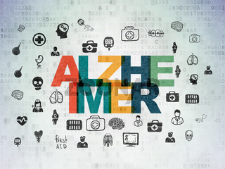 Healthcare concept: Alzheimer on Digital Data Paper background
