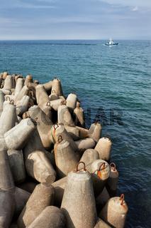 Breakwater Concrete Blocks in the Sea