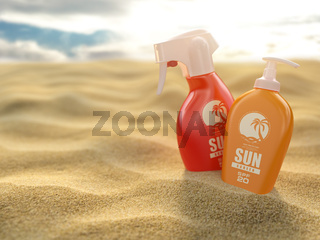 Sunscreen sprays and cream on a sea sand background. Products for sunburn.