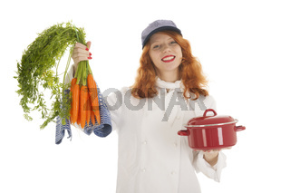 Female cook chef with vegetables