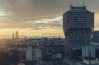 Milano, 2016 panoramic skyline with Italian Alps on Background