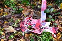 Kriminal Szene, Absperrband der Polizei sichert einen Tatort im Wald