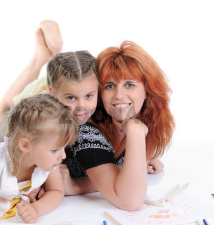mother with her daughters.
