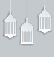 Paper Arabic lamp with shadow for Ramadan Kareem