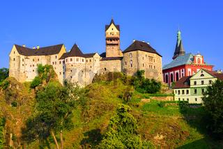 Loket Castle on sunset, Czech Republic