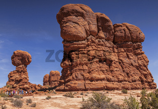 Balanced Rock Arches National Park and Tourists