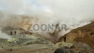 Climbing to active volcano Mutnovsky on Kamchatka.