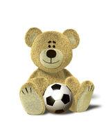 Nhi Bear sits with soccer ball