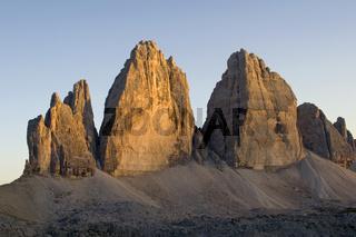 Drei Zinnen, Sextener Dolomiten, Italien, three zinnen, sextener dolomite, Italy, Abendlicht,  evening light