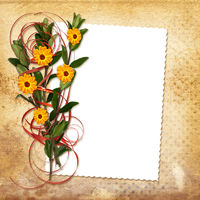 Card with bouquet on old grunge background