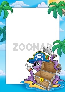 Frame with pirate octopus - color illustration.