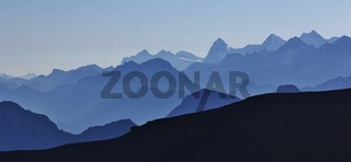 Silhouettes of mountains and valleys in the Bernese Oberland