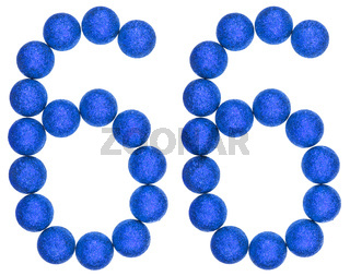Numeral 66, sixty six, from decorative balls, isolated on white background