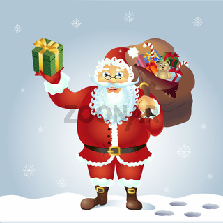 Santa Claus with bag and gift in hands vector