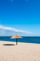 Peaceful beach resort sun shelter