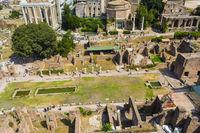 Top view of Roman Forum, Rome Italy