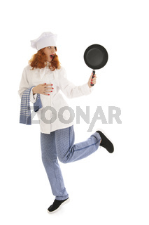 Female cook chef with frying pan