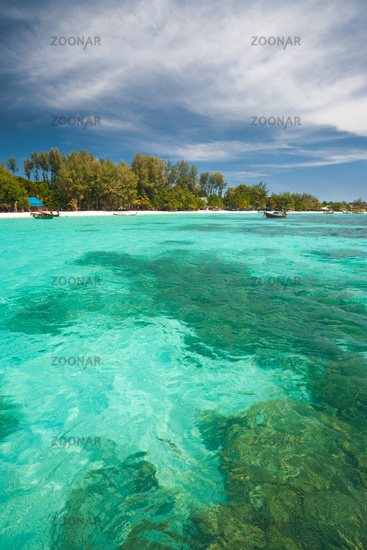 Underwater Coral Clear Water Traditional Boats