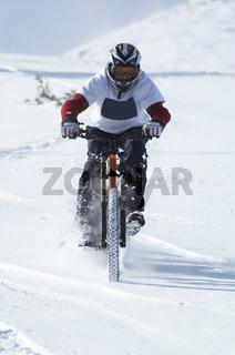 Snow biker downhill