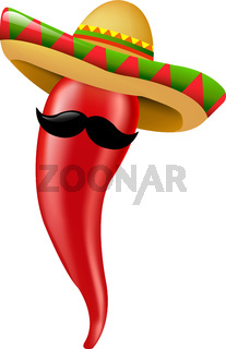 Hot Chilli Pepper With Sombrero And Moustaches