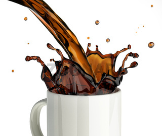 Pouring coffee splashing into a glass mug.