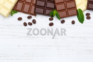 Schokolade Tafel Süßigkeiten Essen Textfreiraum Holz von oben