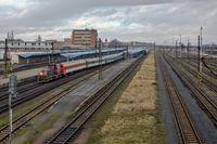 Blick auf den Bahnhof Eger (Tschechien)