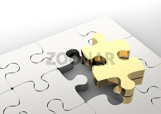 Last golden puzzle piece to complete a jigsaw. . Concept of business solution