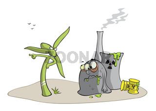 Windrad gegen Atomkraftwerk