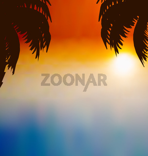 Sunset background with palm trees
