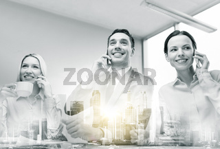 business team with smartphones working at office