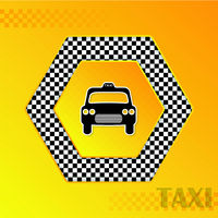 Checkered taxi background with cab silhouette in center