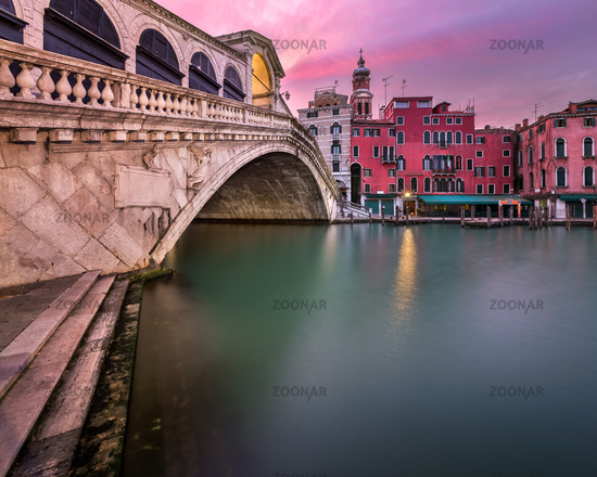 Rialto Bridge and San Bartolomeo Church at Sunrise, Venice, Italy