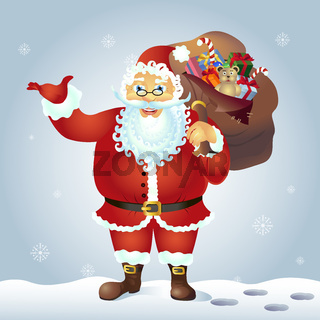 Santa Claus present something standing vector illustration