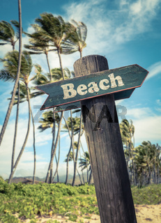 Retro Beach Sign In Hawaii