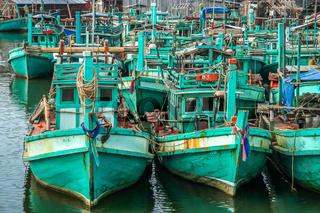 Fishing boats on cambodian coast
