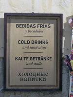 Schild mit Warenangebot Palma de Mallorca
